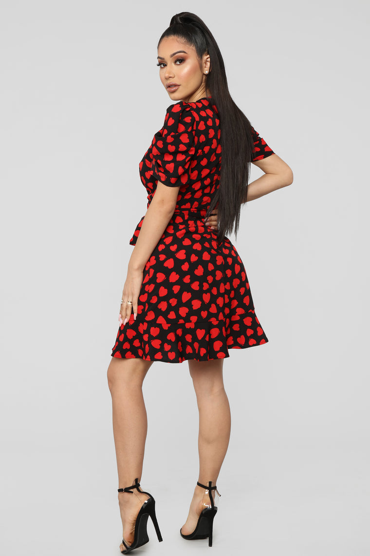 In Lust Wrap Mini Dress - Black/Red