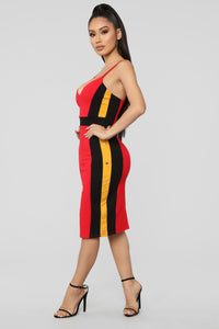 Going On A Date Color Block Dress - Red/Combo