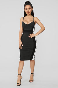Going On A Date Color Block Dress - Charcoal/Combo