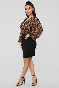 Roaring Beauty Mini Dress - Leopard