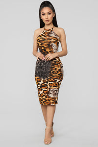 Truly Wild Leopard Print Midi Dress - Brown/Combo