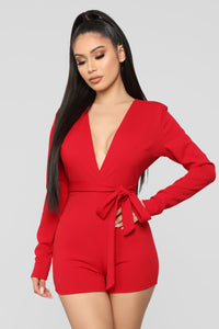 Let's Go Downtown Romper - Red