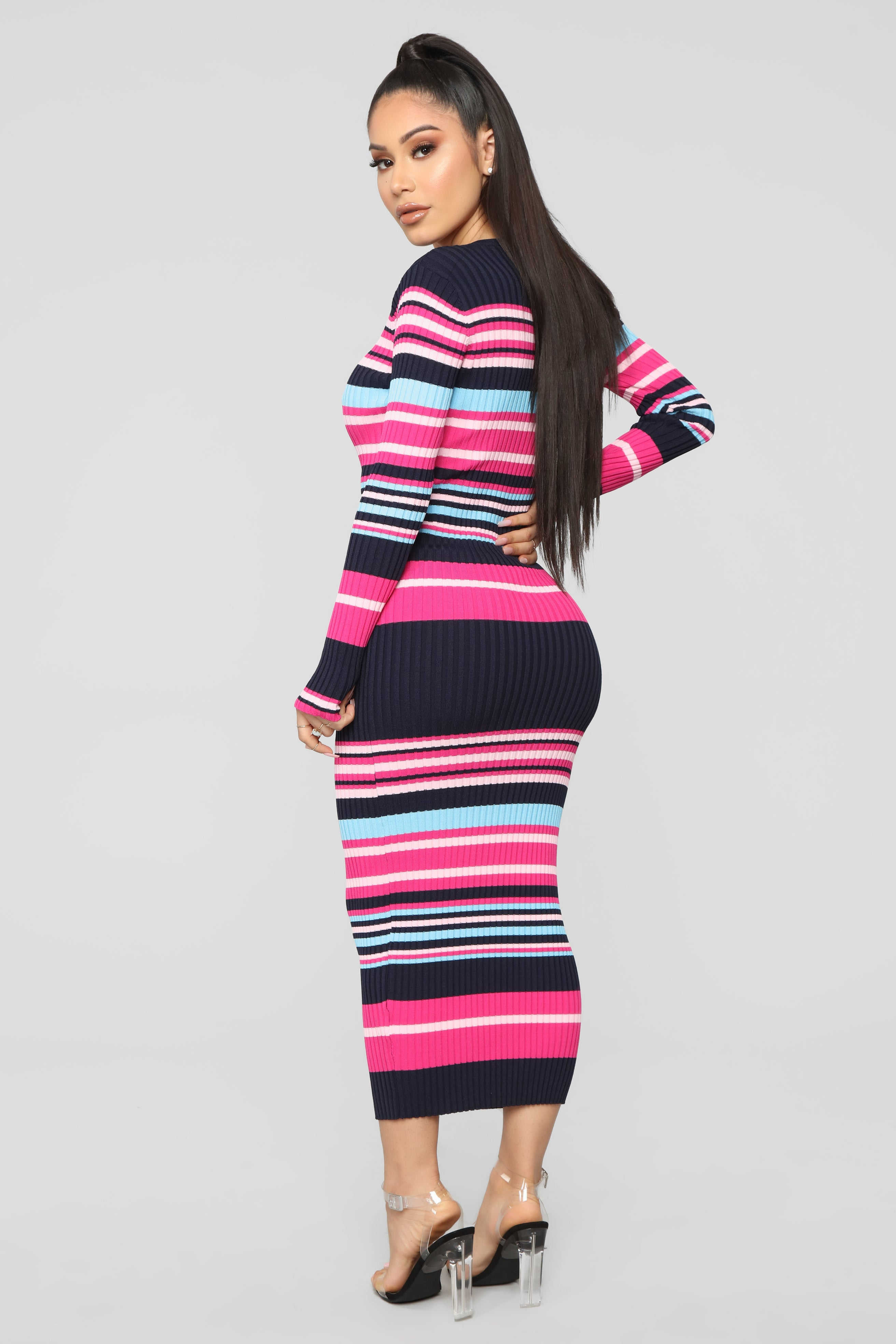 6c581b387b390 Straight To It Striped Sweater Dress - Navy/Pink