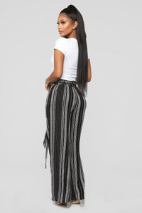 Breanne Tie Waist Pants - Black