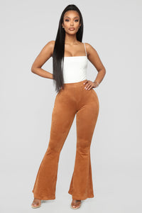 Wander Through Faux Suede Pants - Tan