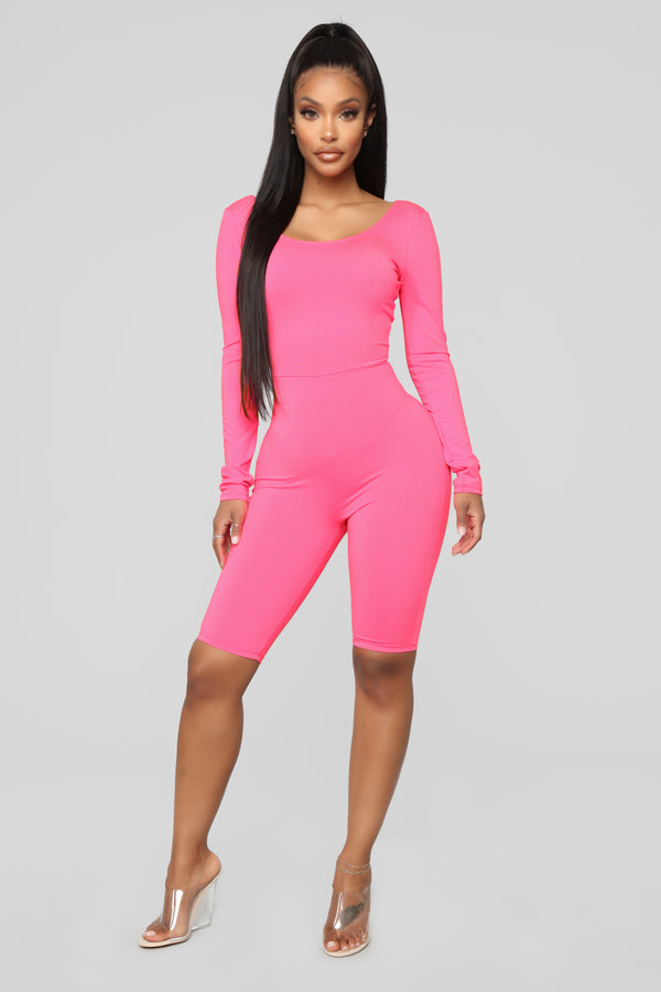 Don t Want Your Heart Biker Short Romper - Hot Pink 8b9e482e0