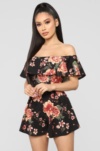 In My Feelings Romper - Black Floral