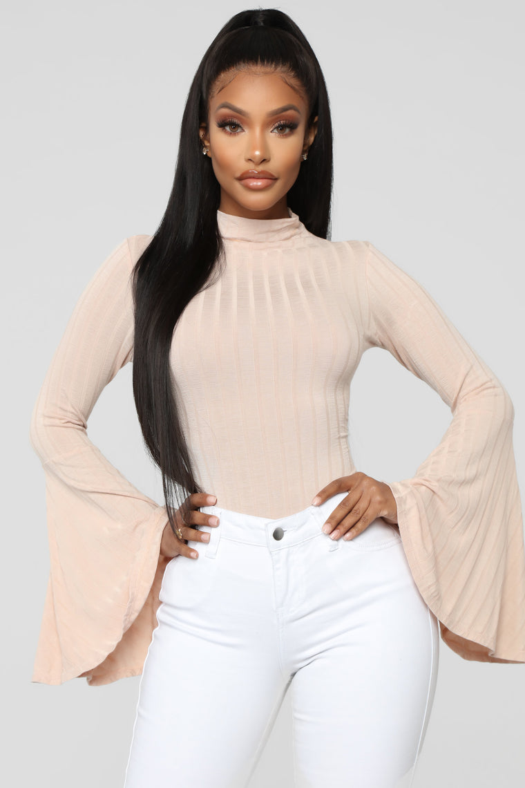 Anastasia Bell Sleeve Bodysuit   Nude by Fashion Nova
