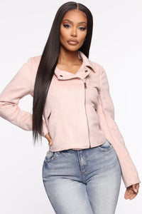 Take Me On A Ride PU Leather Jacket - Blush Angle 1
