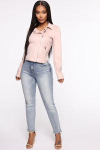 Take Me On A Ride PU Leather Jacket - Blush Angle 2