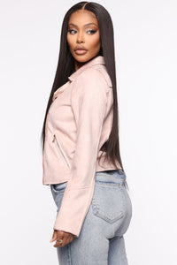Take Me On A Ride PU Leather Jacket - Blush Angle 3