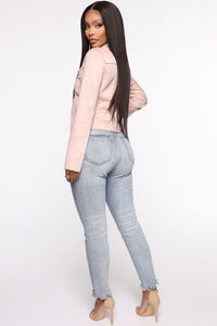 Take Me On A Ride PU Leather Jacket - Blush Angle 5
