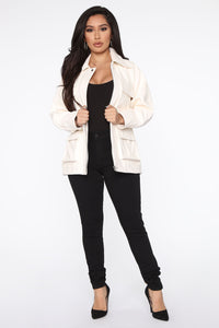 Best To Let Me Go PU Leather Jacket  - Ivory