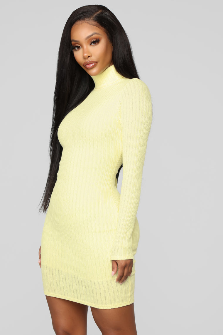 I'll Be Here Ribbed Mini Dress   Yellow by Fashion Nova