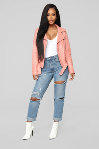 On The Edge Moto Jacket - Pink