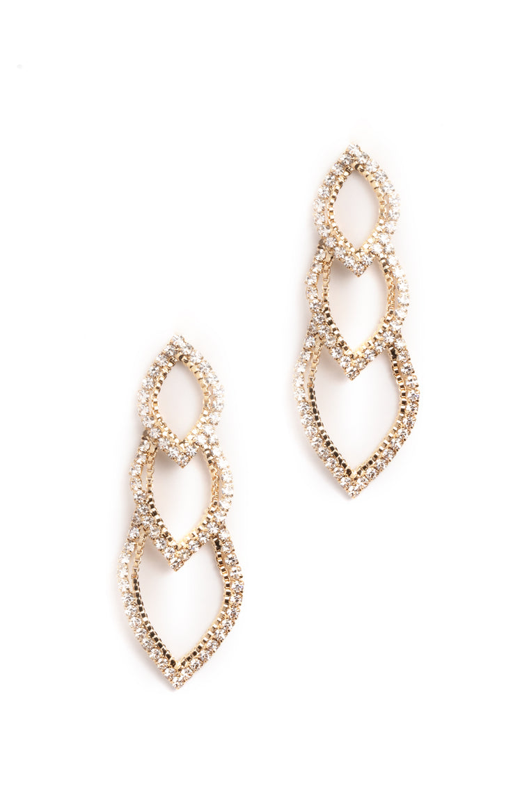 Diamonds Are A Girls Bestfriend Earrings - Gold