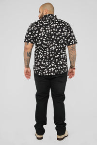 Scott Short Sleeve Woven Top - Black Angle 10