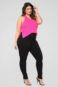 All Over You Sleeveless Sweater - Hot Pink