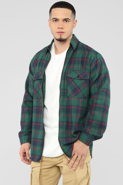 Broderick Long Sleeve Woven Top - Green/combo