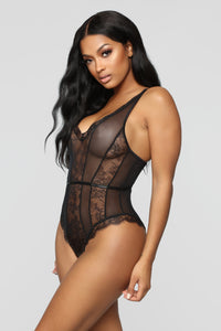 Long Distance Type Lace Teddy - Black