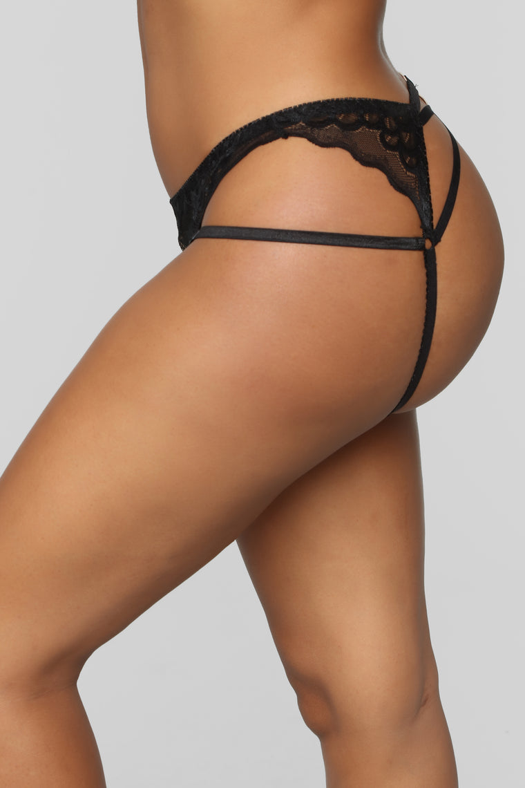 Check Out The Back Thong Panty - Black