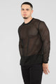 Romi Long Sleeve Mesh Top - Black