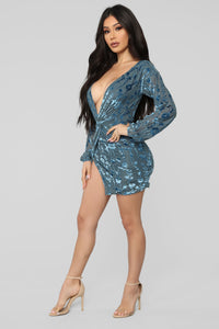 Briella Velvet Mini Dress - Blue