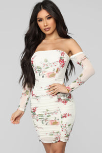 Seems Like A Dream Floral Ruched Dress - Ivory