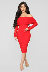 Take Me On A Dinner Date Dress - Red Angle 1