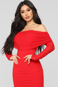 Take Me On A Dinner Date Dress - Red Angle 3