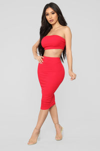 Chasing Thrills Skirt Set - Red