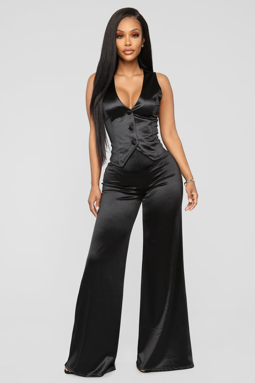 Tuxedo Moment Satin Set - Black