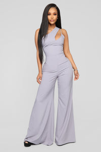 Swanky One Shoulder Jumpsuit - Dusty Lavender