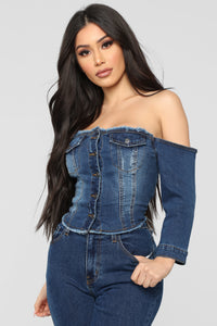 Just A Tease Denim Top - Dark Wash