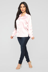 Smooth Talkin' Button Down Top - Pink Angle 3