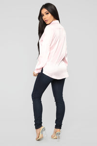 Smooth Talkin' Button Down Top - Pink Angle 4