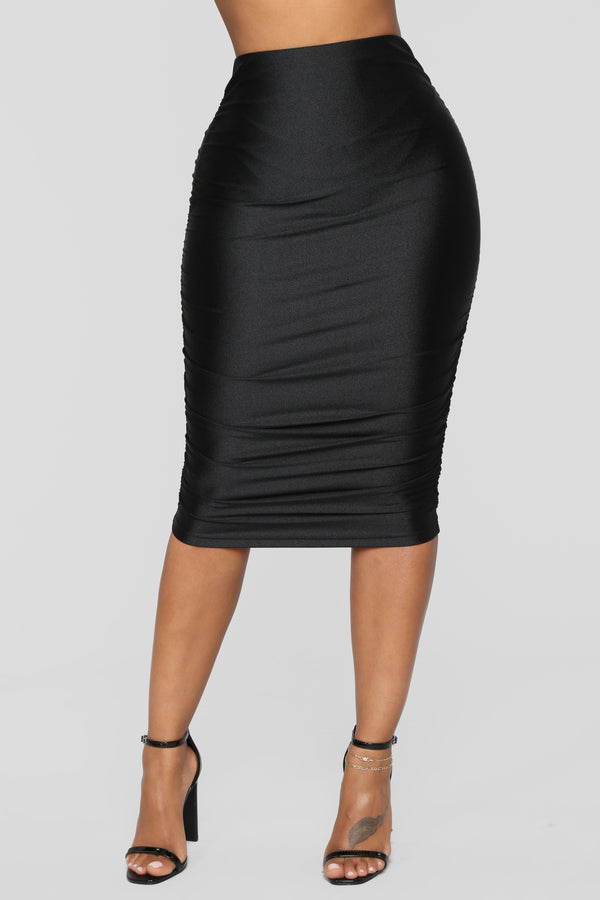 145583d1275 Curves For Days Ruched Skirt - Black