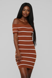 Just Met Me Stripe Mini Dress - Khaki/White