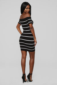 Just Met Me Stripe Mini Dress - Black/White