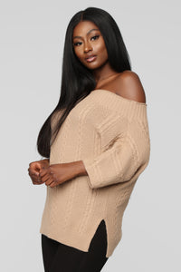 Love You More Sweater - Mocha Angle 1