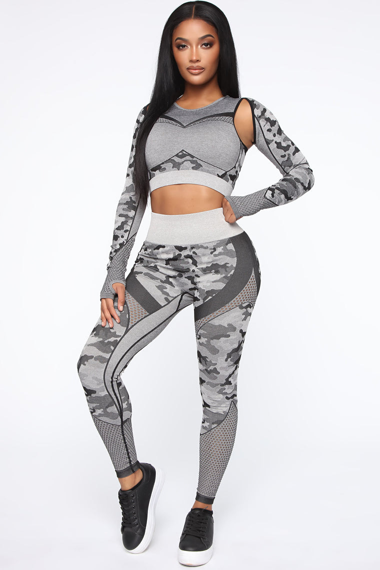 Yes Sir Infinity Seamless Active Crop Top - Grey/combo