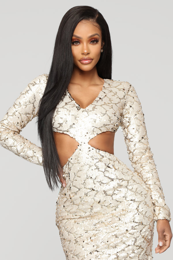 2aed13f1d Shine Like A Light Sequin Gown - Gold White