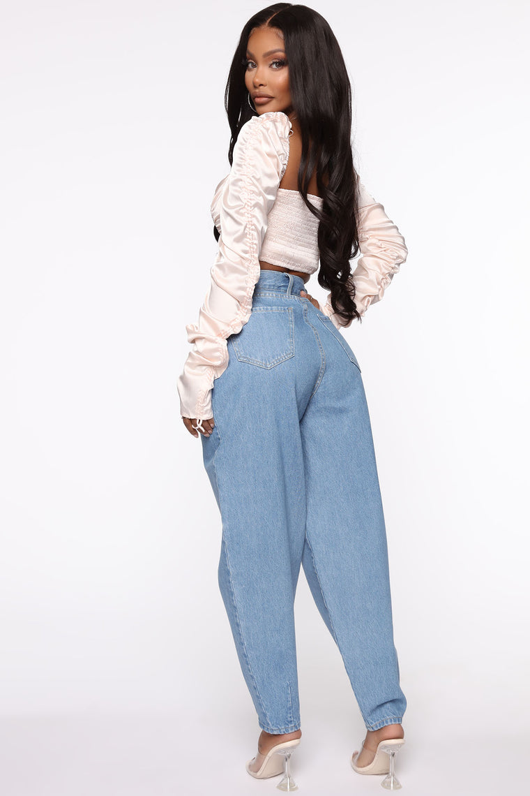 Blew Me Away Balloon Mom Jeans - Medium Wash