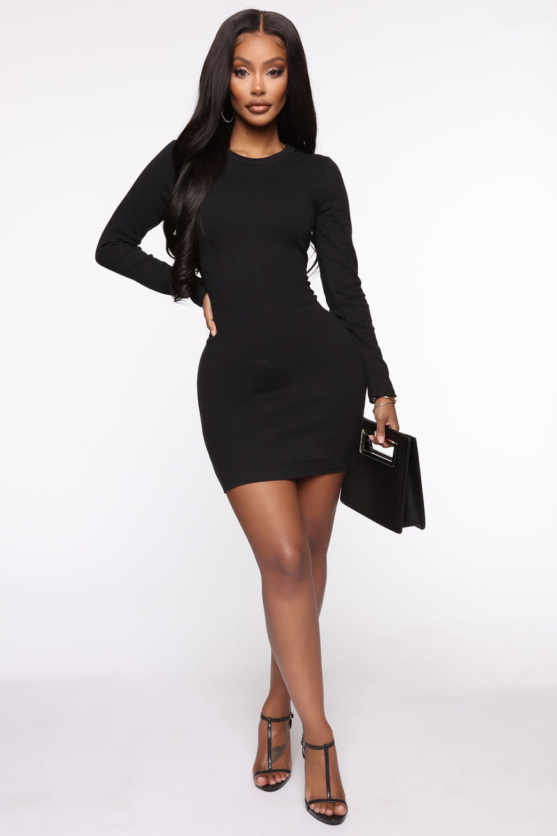 Try This Long Sleeve Mini Dress Black Dresses Fashion Nova