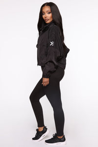 True Fitness Performance Zip Up Jacket With Hidden Hood - Black Angle 3