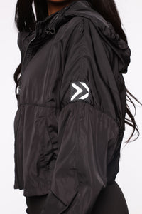 True Fitness Performance Zip Up Jacket With Hidden Hood - Black Angle 6
