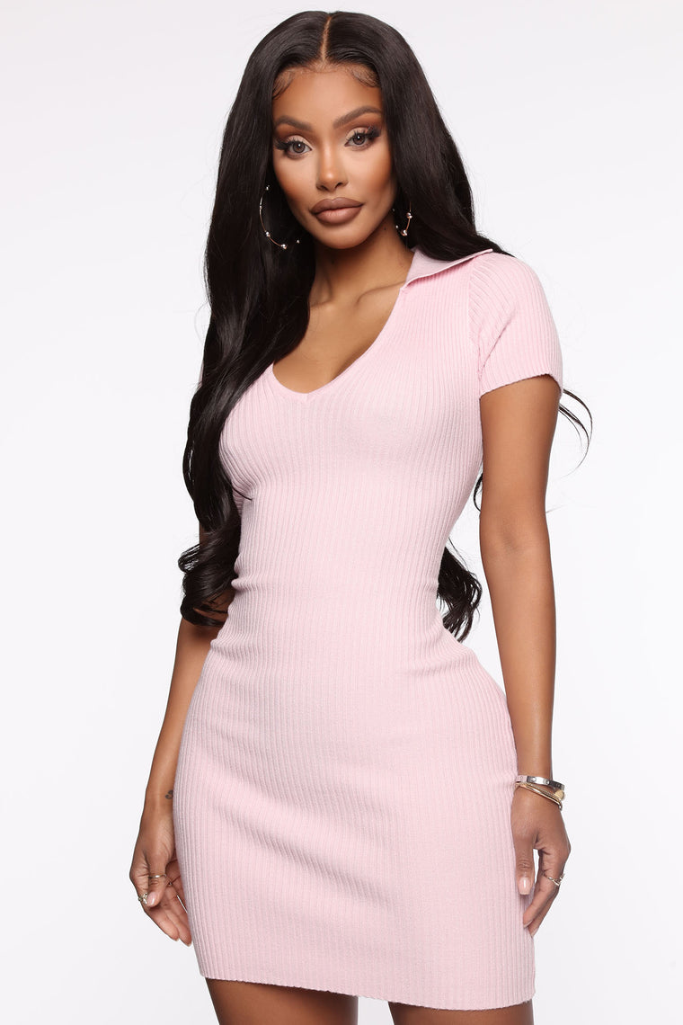 Dressed Accordingly Sweater Mini Dress - Pink