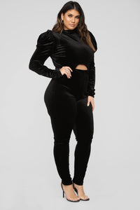 High Standards Velvet Jumpsuit - Black