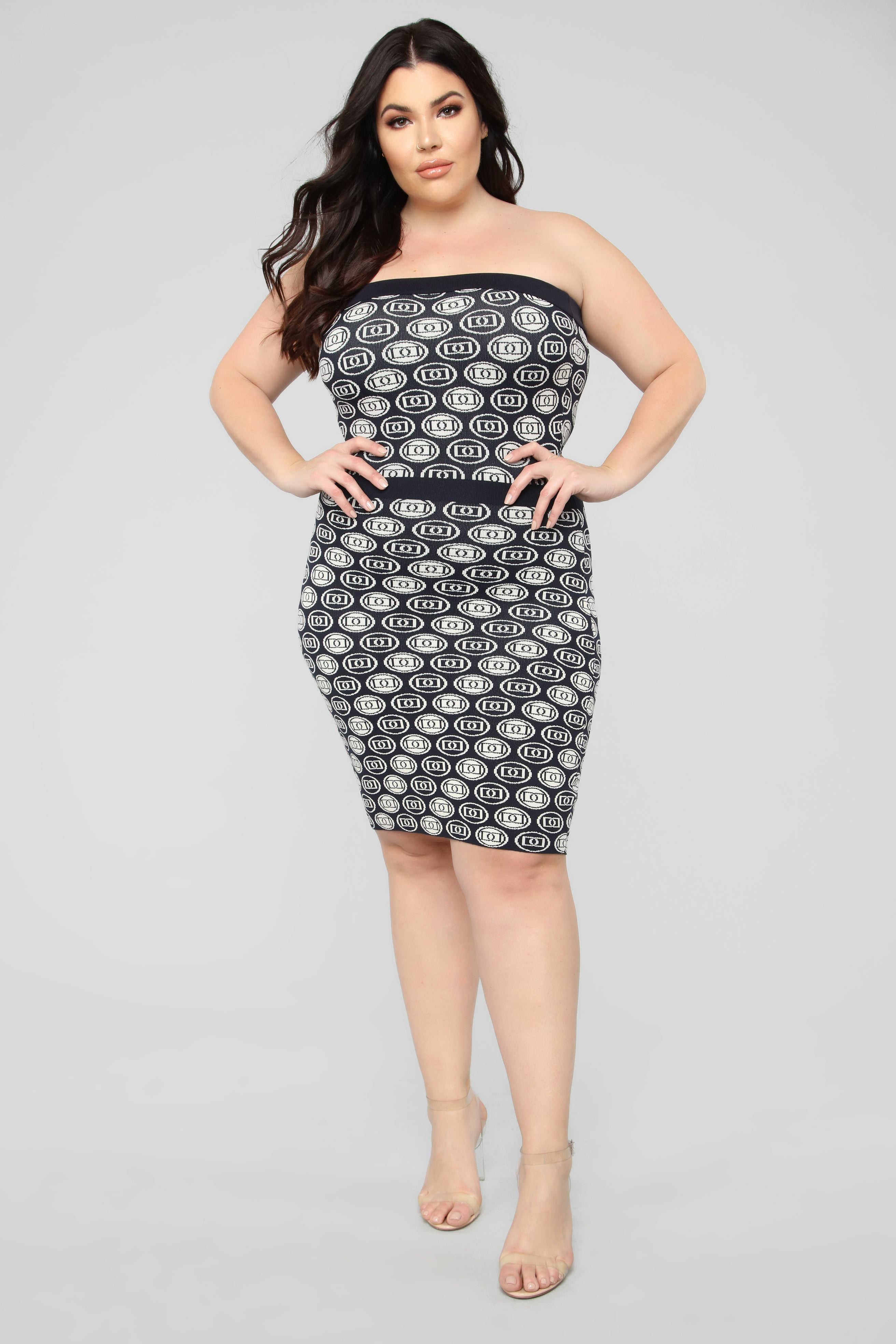 22a32c6164f Couture Made Me Do It Tube Dress - Navy White