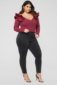 Ruffle Me Up Bodysuit - Burgundy